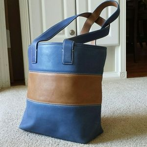 Vintage COACH Legacy Leather Bag Blue & Tan